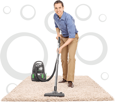 photo illustration of a cleaner cleaning a rug with a vacuum cleaner