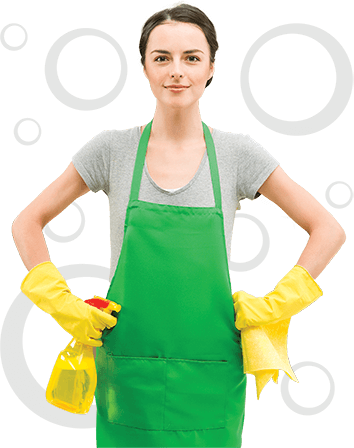 photo of a professional cleaner in a green apron and yellow plastex gloves
