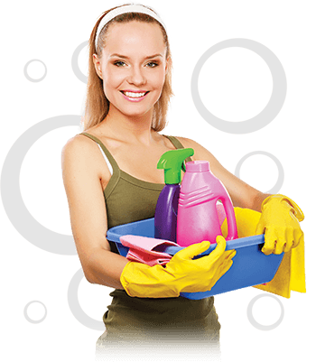a female cleaner holding her cleaning tools