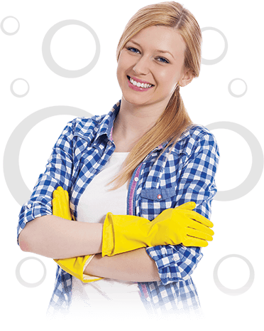 photo illustration of a smiling cleaner